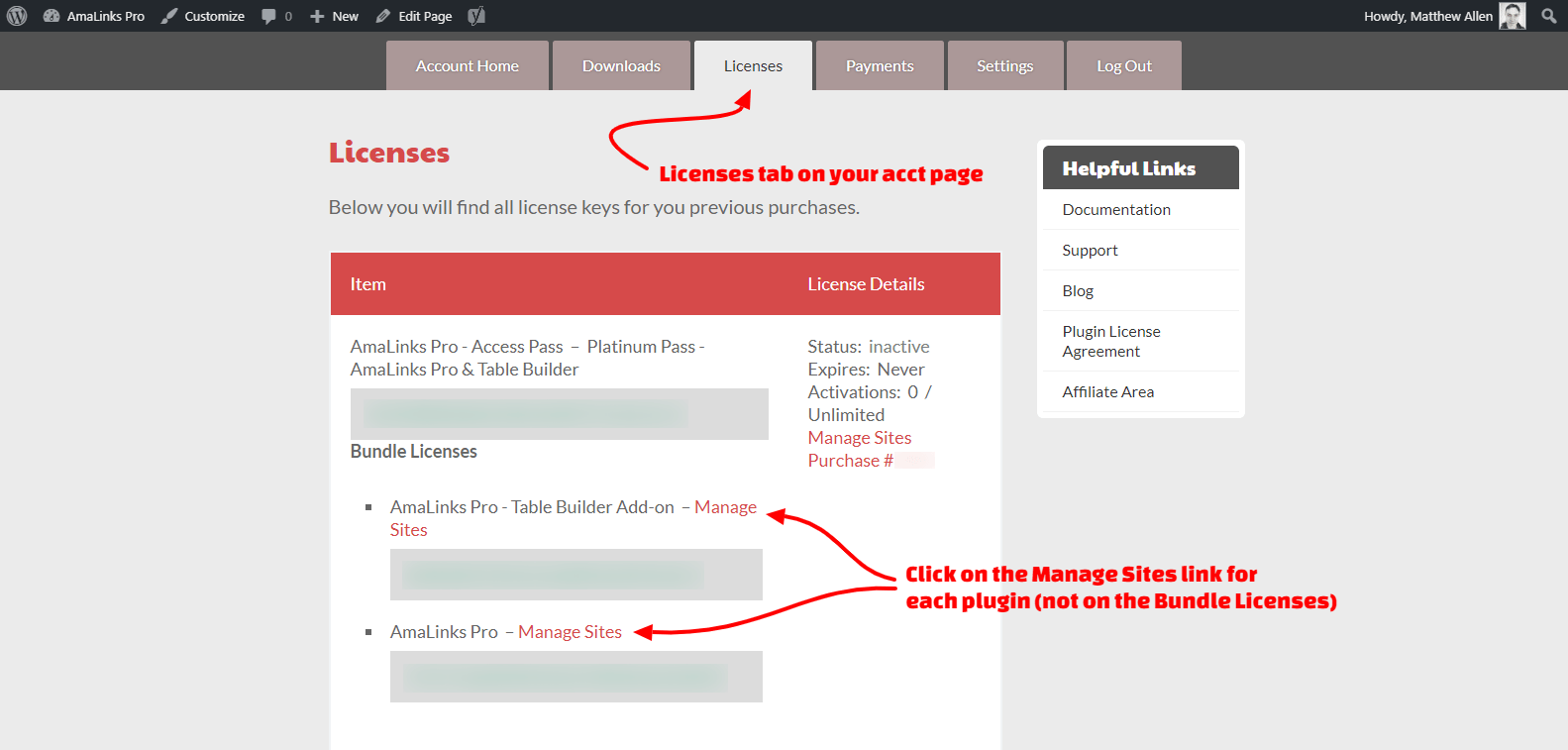 How to Update AmaLinks Pro - Licenses Tab