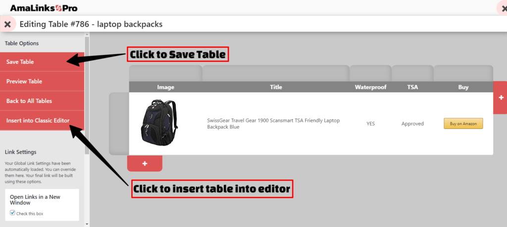 Non-API - Table Builder - Save Table - Insert Table into Editor