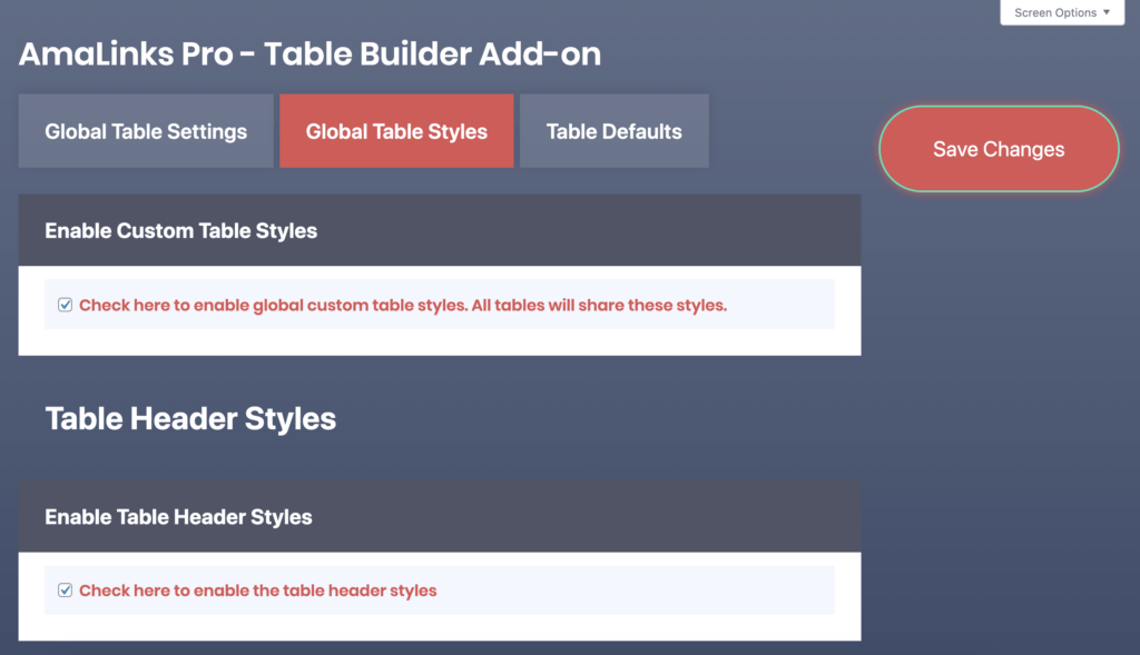 amalinks pro table builder example