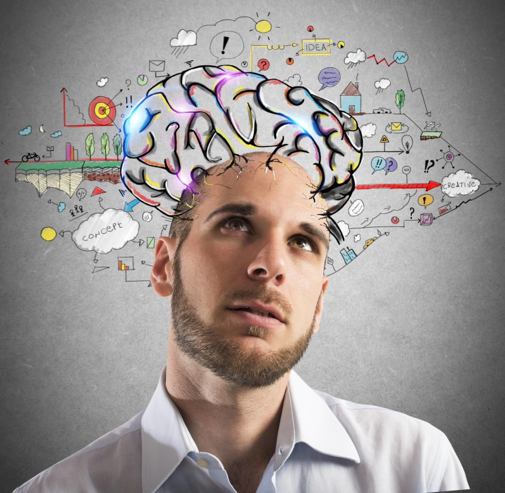 Businessman with thoughtful expression with brains designed