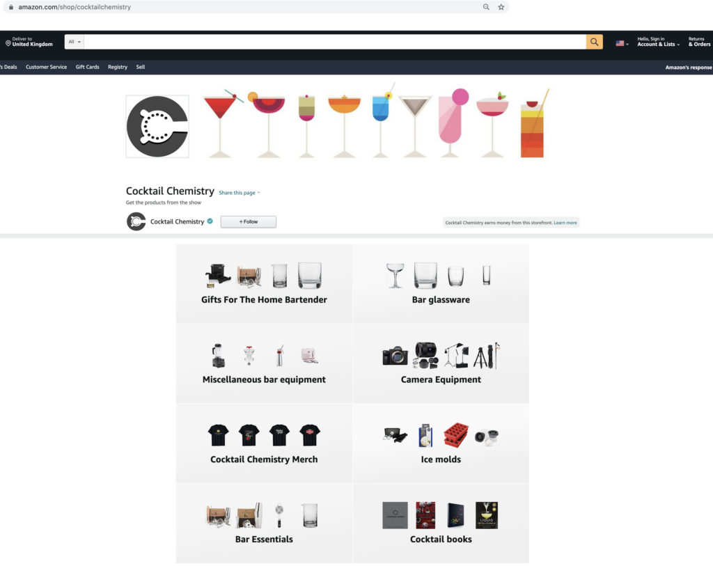 Cocktail Chemistry Amazon Influencer Storefront