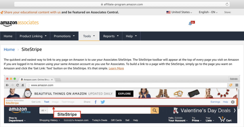 Learn More about Amazon SiteStripe